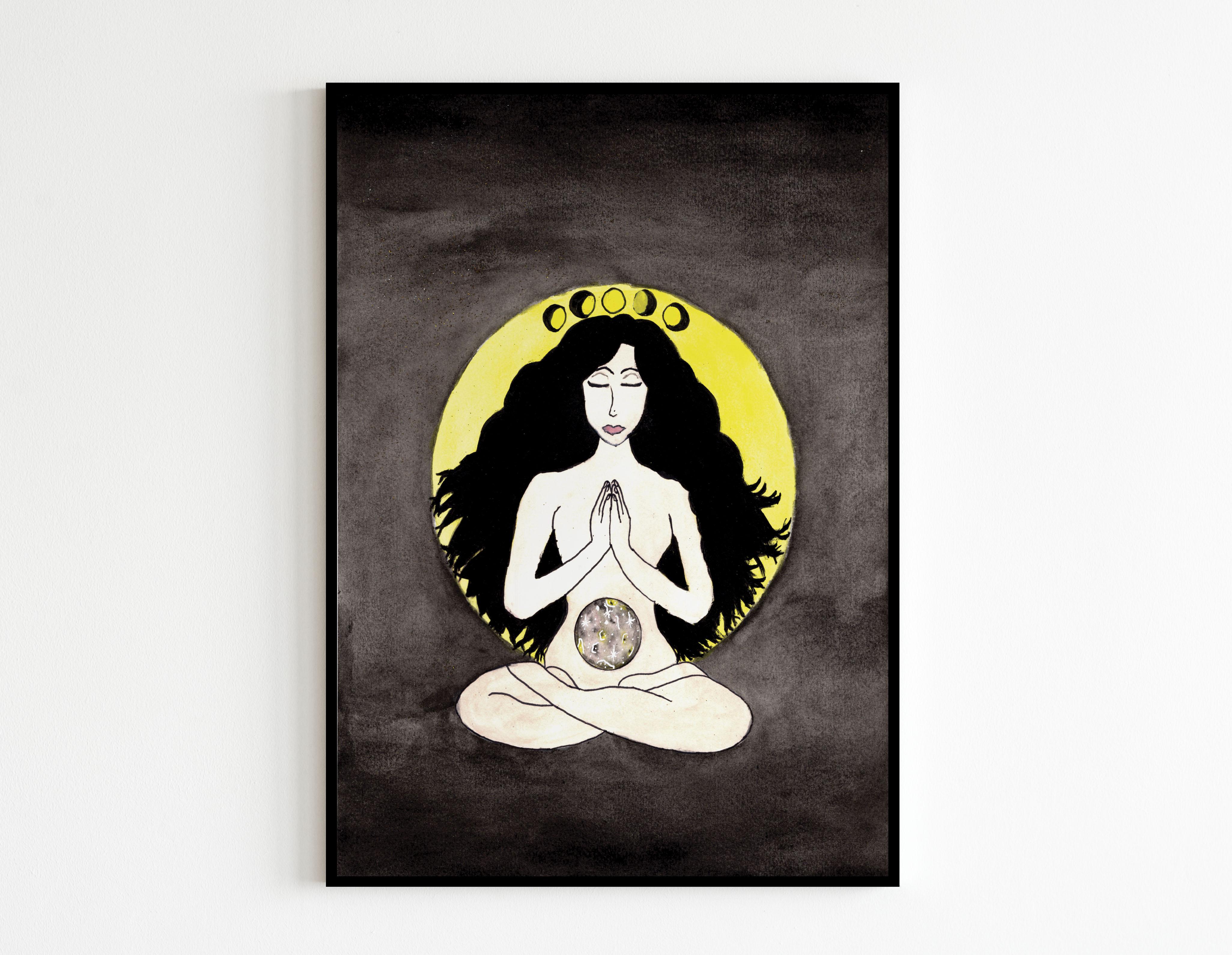 Femme de la lune avec cadre noir - MES CRÉATIONS