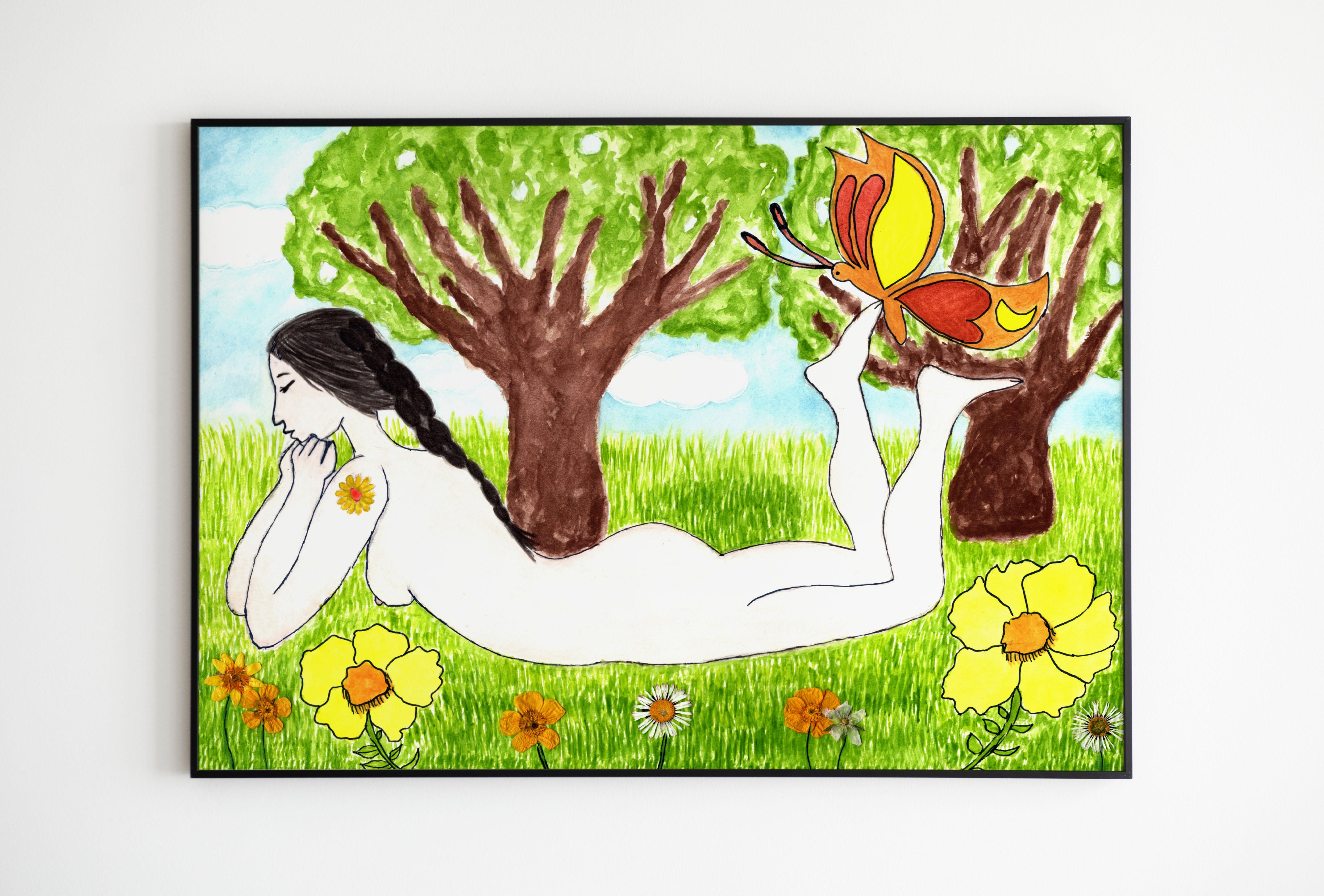 Femme des fleurs cadre noir 1 - MES CRÉATIONS
